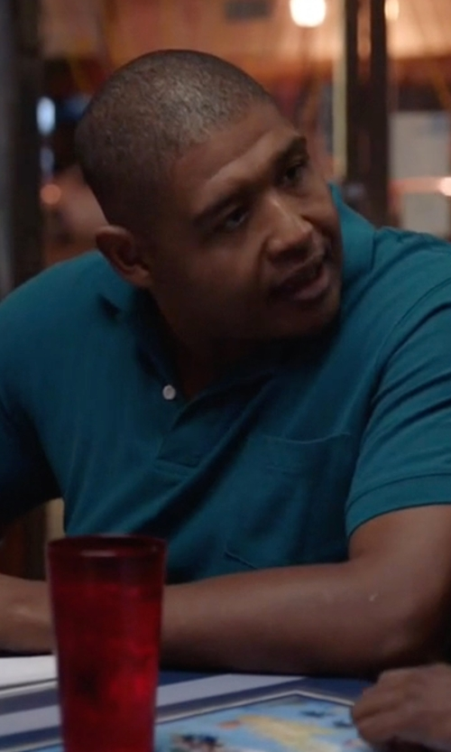 Omar Benson Miller with Lacoste Tonal Croc Polo Shirt in Ballers