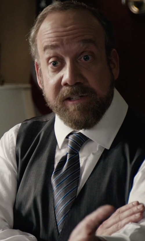 Paul Giamatti with J.Z. Richards Stripe Silk Tie in Billions