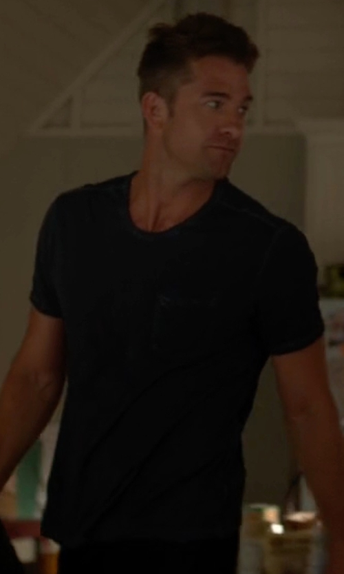 Scott Speedman with Rag & Bone Standard Issue Short-Sleeve Pocket T-Shirt in Animal Kingdom