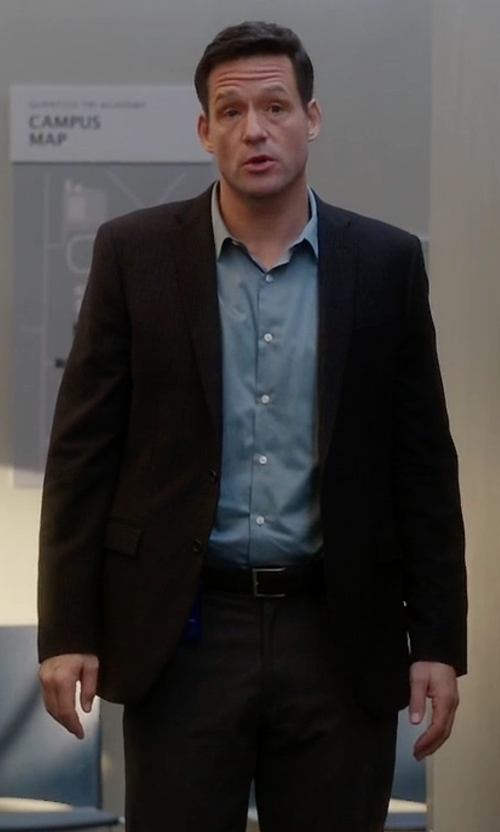 Josh Hopkins with Prada Black Wool Two-Button Suit in Quantico