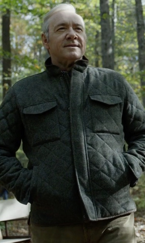 Kevin Spacey with Peter Millar Millburn Shetland Quilted Jacket in House of Cards
