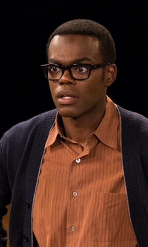 William Jackson Harper with Versace Square Eyeglasses in The Good Place