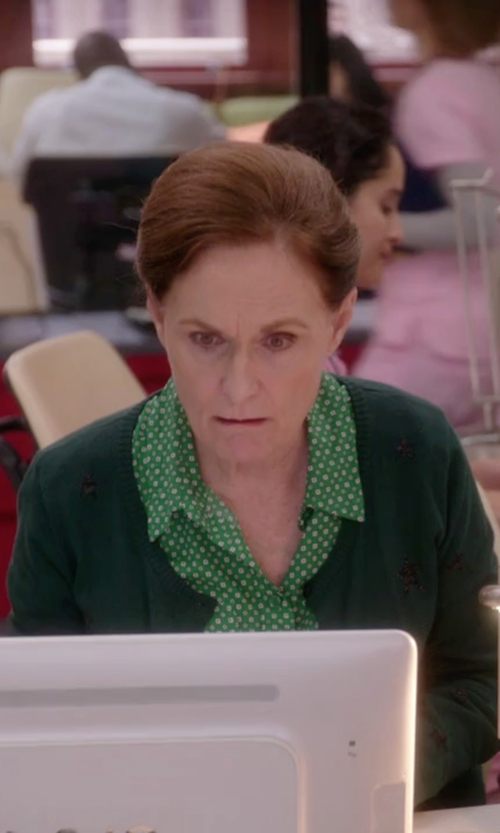 Beth Grant with National Polka Dot Twinset Shirt in The Mindy Project