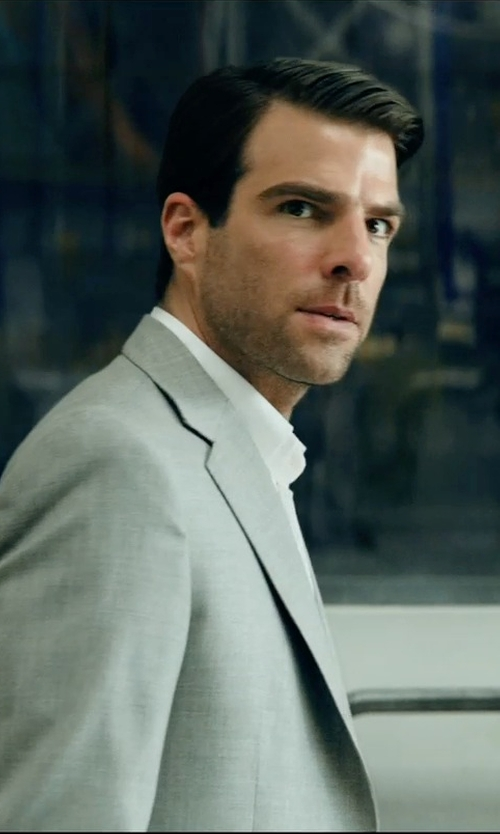 Zachary Quinto with Ralph Lauren Polo Grey Fresco Suit in Hitman: Agent 47