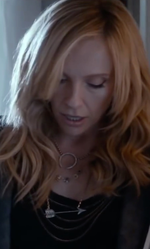 Toni Collette with Saks Fifth Avenue Arrow Pendant Necklace in Miss You Already