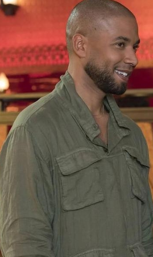 Jussie Smollett with Peter Millar Canton Reversible Field Jacket in Empire