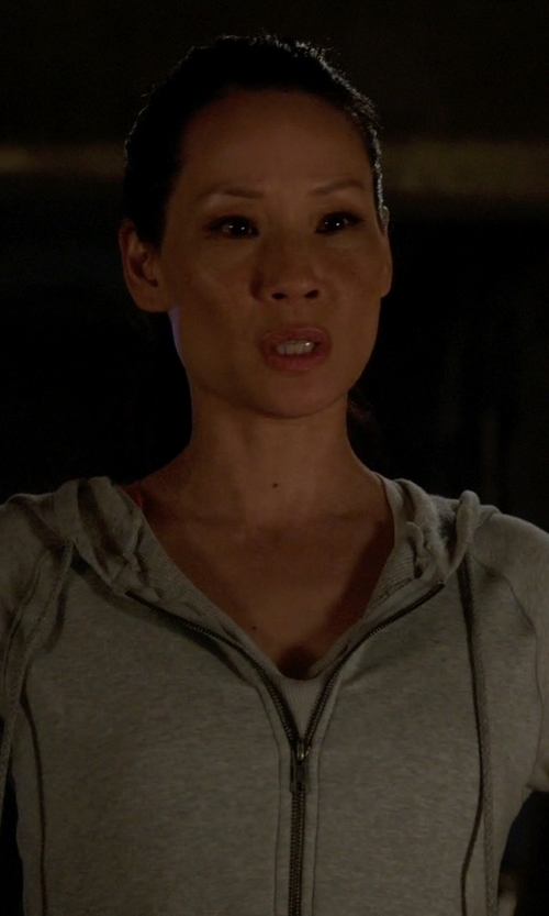 Lucy Liu with Nesh NYC Lush Cashmere Zip Hoodie in Elementary