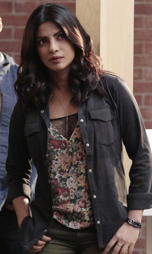Priyanka Chopra with James Perse Contrast Panel Shirt in Quantico