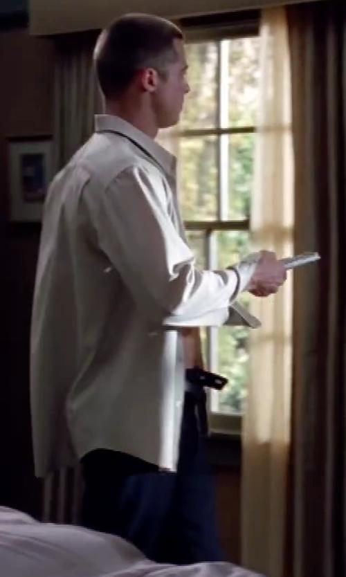 Brad Pitt with Ralph Lauren Slim-Fit Wool Twill Trouser in Mr. & Mrs. Smith