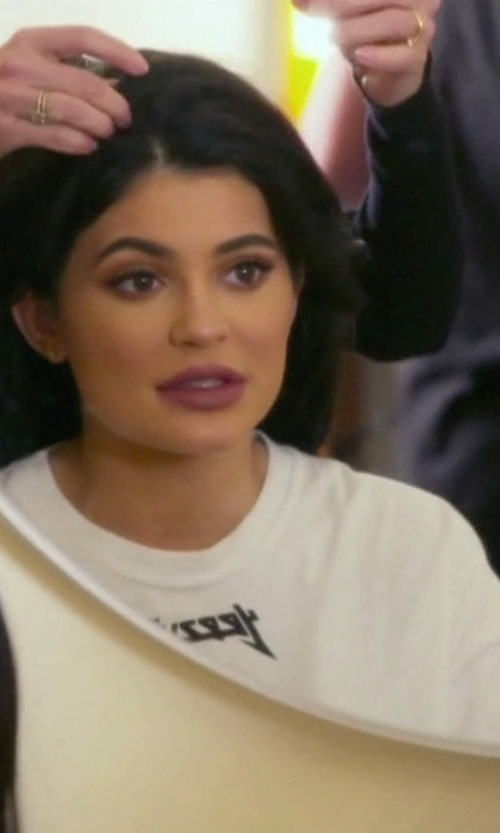 Kylie Jenner with Yeezus Glastonbury Long Sleeve T-Shirt in Keeping Up With The Kardashians