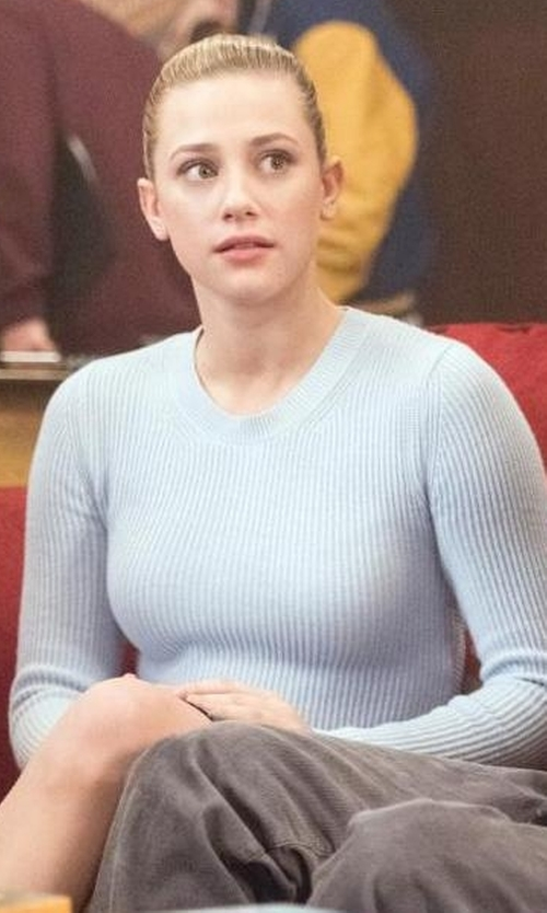 Lili Reinhart with G-Star Core Long Sleeve Knit Sweater in Riverdale