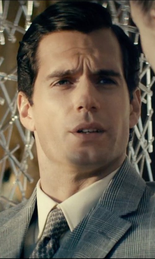 Henry Cavill with David Van Hagen Black/White Polka Dot Tie in The Man from U.N.C.L.E.