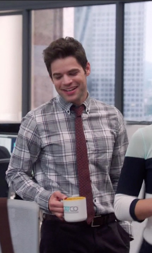 Jeremy Jordan with J. Crew Slim Secret Wash Shirt in Supergirl