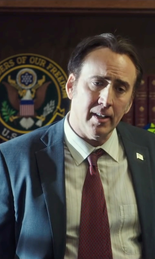 Nicolas Cage with John W. Nordstrom 'Capitol Mini' Patterned Silk Tie in Snowden