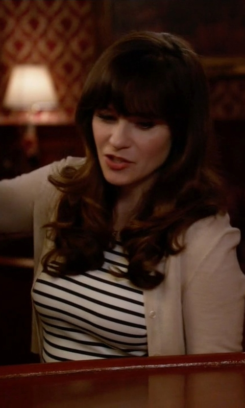 Zooey Deschanel with Barbour 'Dalmore' Stripe Jersey Shift Dress in New Girl