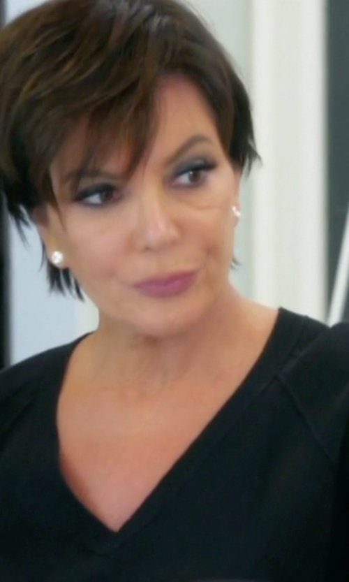 Kris Jenner with Autumn Cashmere Cashmere Contrast-Piped V-Neck Sweater in Keeping Up With The Kardashians