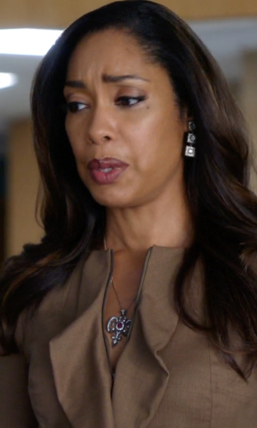 Gina Torres with Ben Bridge Diamond Square Drop Earrings in Suits