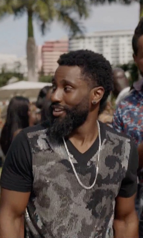 John David Washington with Versace Collection Camo Rhinestone Tee Shirt in Ballers