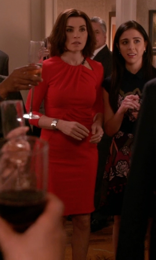 Julianna Margulies with La Petite Robe di Chiara Boni Three-Quarter Sleeve Cutout Dress in The Good Wife