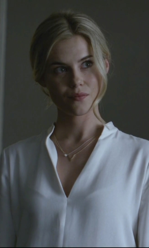Rachael Taylor with L'agence Bianca Band Collar Blouse in Jessica Jones