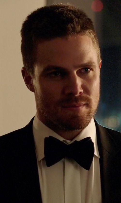 Stephen Amell with Yves Saint Laurent Paris Satin Bowtie in Arrow