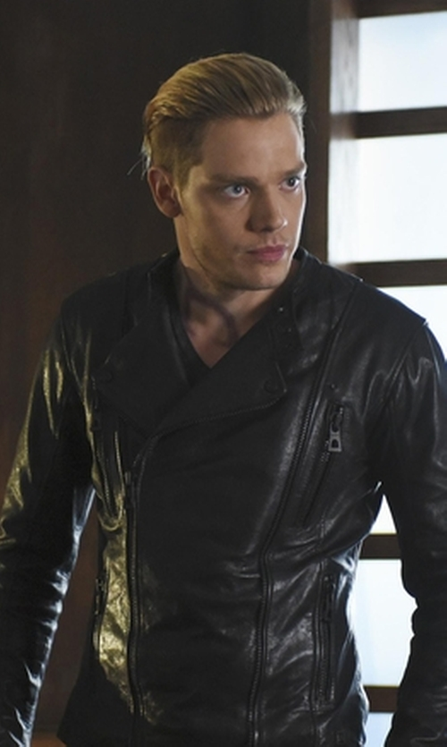 Dominic Sherwood with Zoha Collection Lambskin Bomber Biker Jacket in Shadowhunters