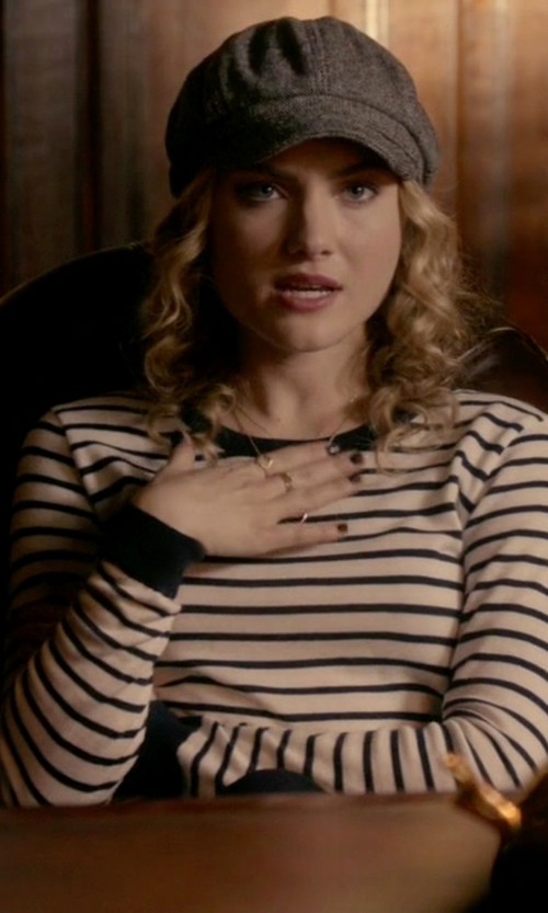 Skyler Samuels with Guess Striped Cropped Sweater in Scream Queens