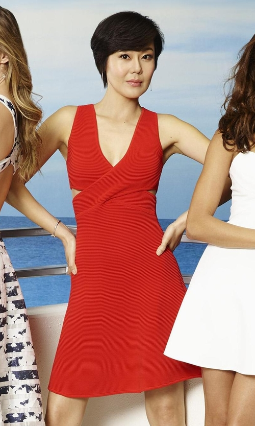 Yunjin Kim with Jonathan Simkhai Cutout Ribbed Cross-Front Dress in Mistresses