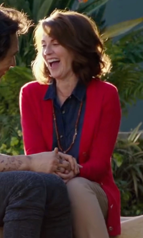 Megan Mullally with Denim & Supply Ralph Lauren V-Neck Button-Front Cardigan in Why Him?