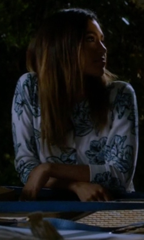 Kara Royster with Halogen Floral Print Cardigan in Pretty Little Liars