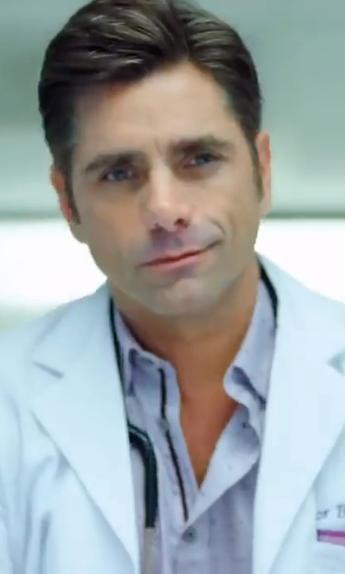 John Stamos with Charvet Pin Dot Dress Shirt in Scream Queens