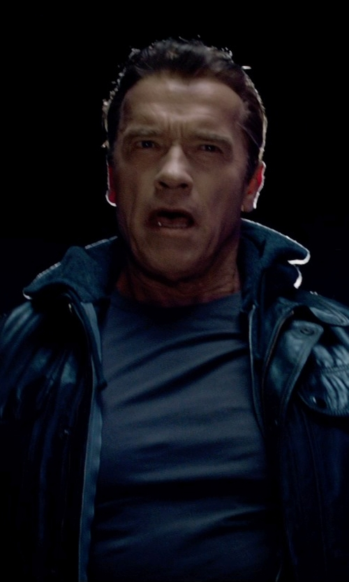 Arnold Schwarzenegger with Issey Miyake Men Crew Neck T-Shirt in Terminator: Genisys