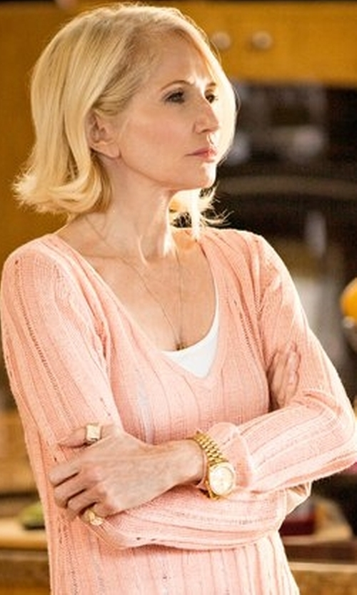 Ellen Barkin with Helmut Lang V-Neck Wool Sweater in Animal Kingdom