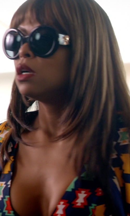 Taraji P. Henson with Versace Black #PopMedusa Sunglasses in Empire