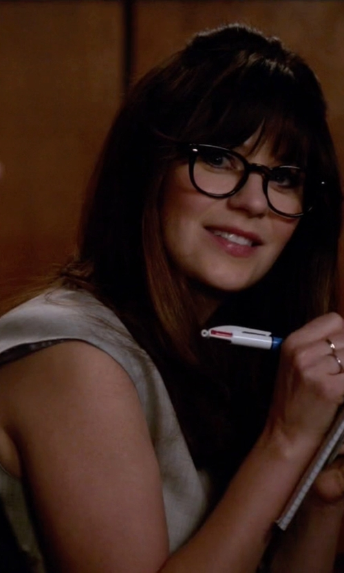 Zooey Deschanel with J. Crew Cap-Sleeve Shirtdress in New Girl