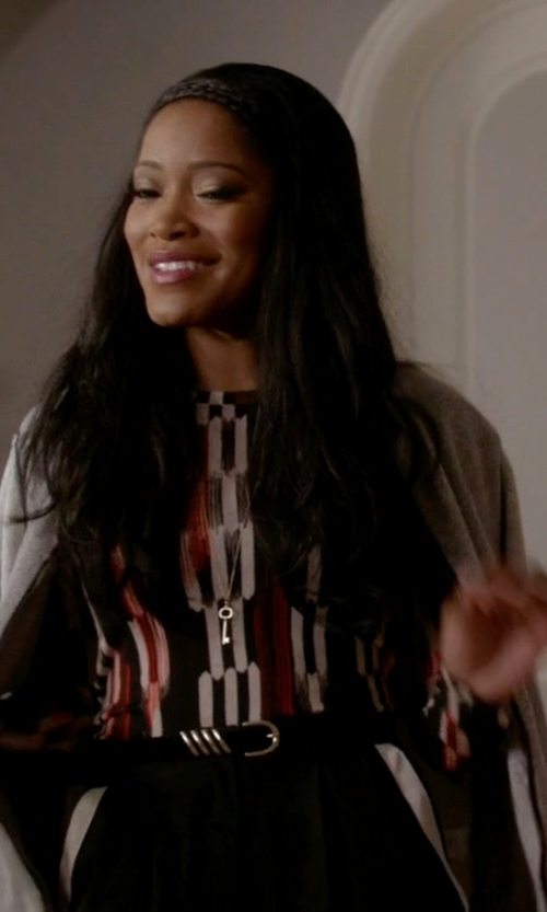 Keke Palmer with BCBGmaxazria Agda Long-Sleeve Crewneck Top in Scream Queens