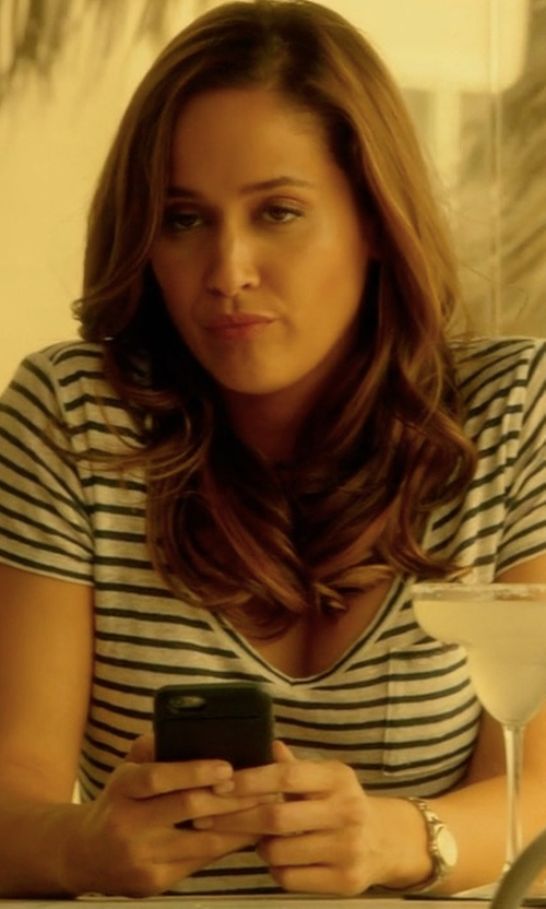 Jaina Lee Ortiz with Paige 'Lynnea' Stripe V-Neck Pocket Tee in Rosewood
