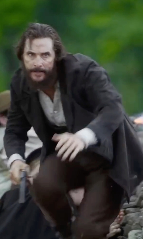 Matthew McConaughey with Lindbergh Overcoat In Black in Free State of Jones