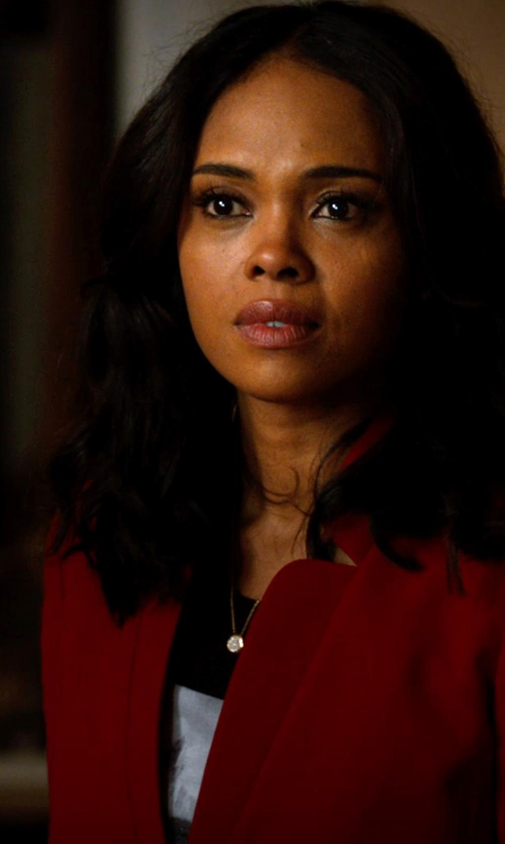 Sharon Leal with Tibi Bibelot Crepe Blouse in Addicted
