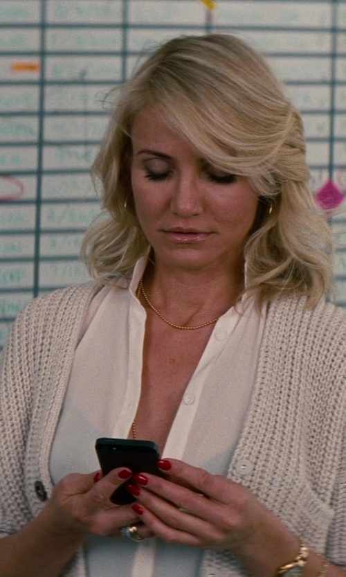 Cameron Diaz with Vince Classic Long-Sleeve Silk Blouse in The Other Woman