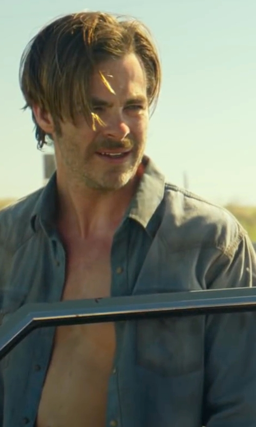 Chris Pine with Frame Denim Classic Shirt in Hell or High Water