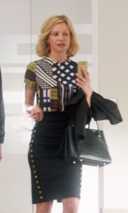 Calista Flockhart with Derek Lam Grommet Detail Pencil Skirt in Supergirl