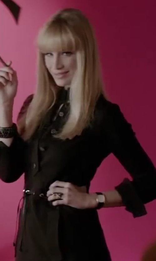 Marie de Villepin with Burberry Check Stamped Round Leather Strap Watch in Yves Saint Laurent