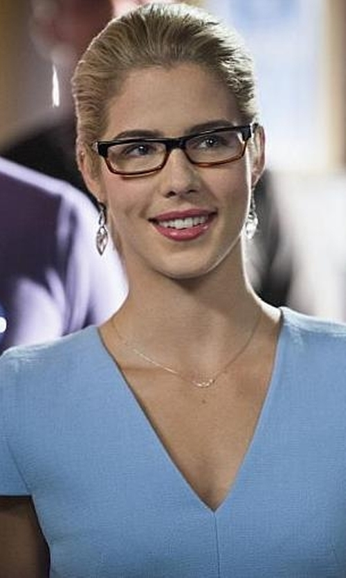 Emily Bett Rickards with Alexis Bittar Coral Orbit Drop Earrings in Arrow