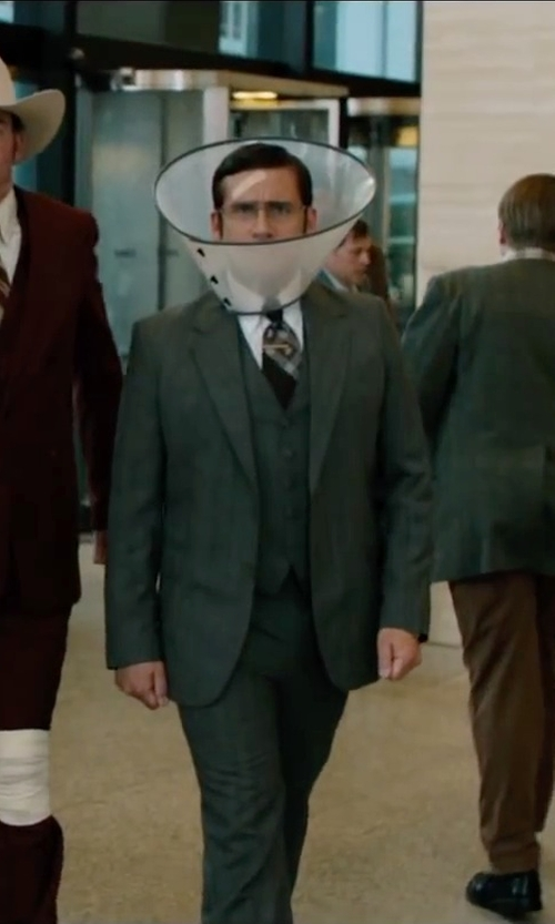 Steve Carell with Jos. A. Bank Signature Spread Collar French Cuff Herringbone in Anchorman 2: The Legend Continues