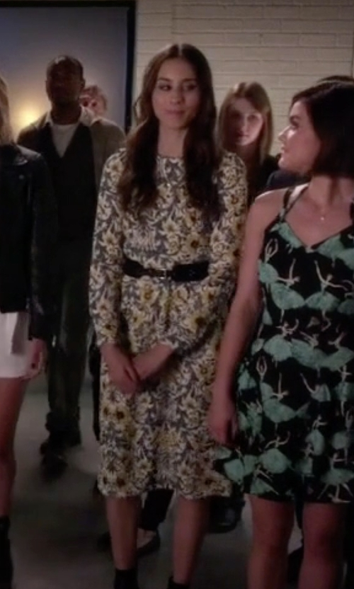 Troian Bellisario with Zara Gathered Seam Dress in Pretty Little Liars