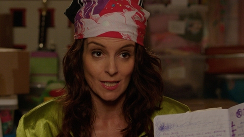 Tina Fey with Corciova Square Silk Like Scarves Shawl Wrap Kerchief Bandana Headwear in Sisters