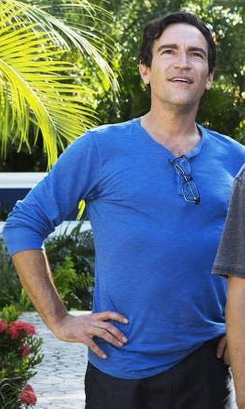 Ben Chaplin with Barneys New York Jersey Henley Shirt in Mad Dogs