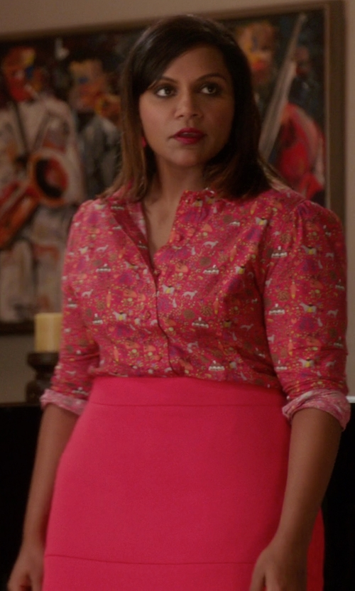 Mindy Kaling with 5th & Mercer Pencil Skirt in The Mindy Project