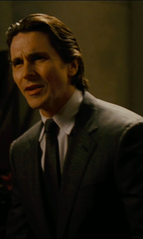 Christian Bale with Giorgio Armani Custom Made Pinstripe Dress Shirt (Bruce Wayne) in The Dark Knight Rises